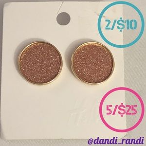 H&M Rose Sparkle Round Gold Tone Earrings NOC